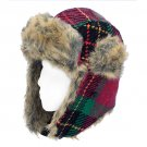 Plaid Design Faux Fur Trooper Aviator Trapper Cold Weather Winter Ski Cap Hat Pink HT00004-PK