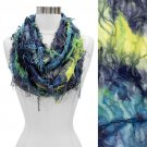 Vintage Butterfly Tie Dye Infinity Loop Scarf Yellow Blue SF00234-BL