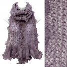 Beautiful Sweet Knit Lace Ruffle Edged Long Fashion Scarf Purple SF00313PU