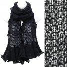 Beautiful Sweet Knit Lace Ruffle Edged Long Fashion Scarf Black SF00313BK