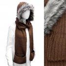 Fur Trim Hooded Hoodie Knit 1-Piece Scarf with Pocket Brown SF00199-BR