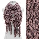 Double Layered Two Tone Ruffle Fringed Cold Weather Fashion Scarf Pink SF00239PK