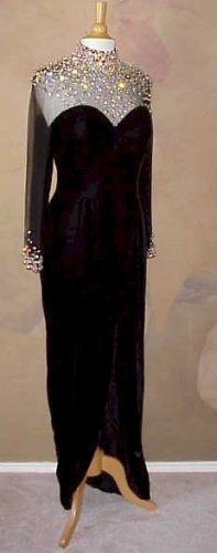 Darius Cordell | Style #1101 - Black Beaded Gowns | Long Sleeve Evening Gowns
