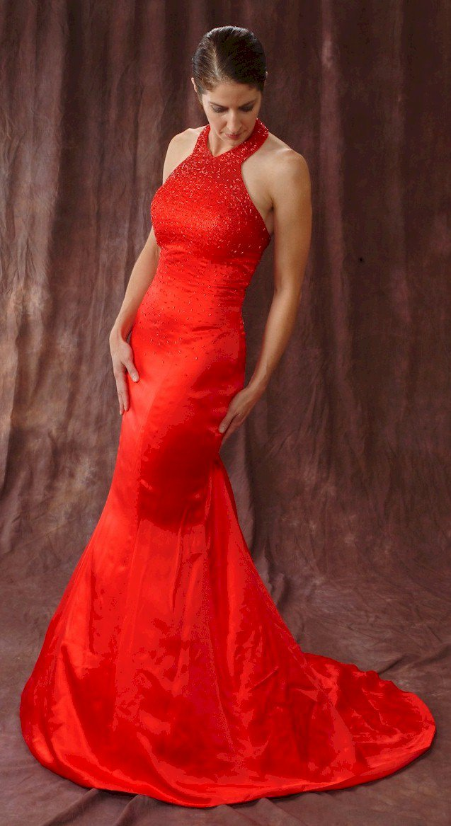 x #1015 - Beaded Red Evening Gowns, halter Formal Dresses