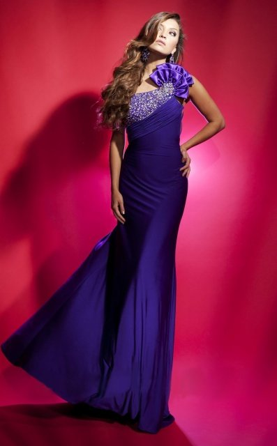 #DW027 x - Custom Pageant Gowns - Purple Evening Dresses