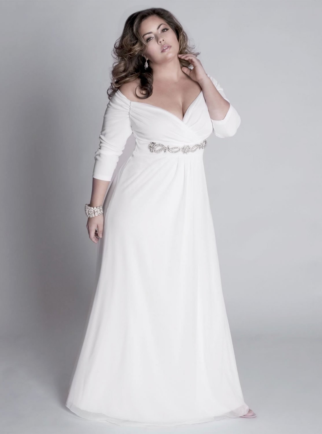 Darius Custom Long Sleeve Evening Gowns - White Plus Size Formal Dresses