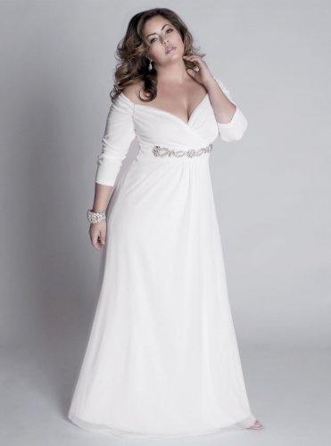 Darius Custom Long Sleeve Evening Gowns - White Plus Size ...