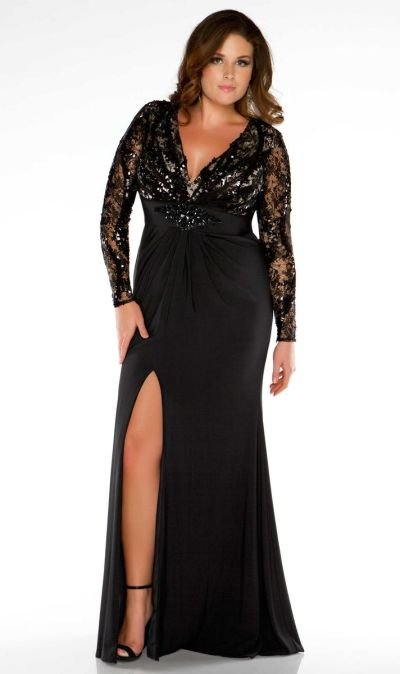 Darius Designs Black Lace Special Occasion Dresses, Long Sleeve Evening Gowns