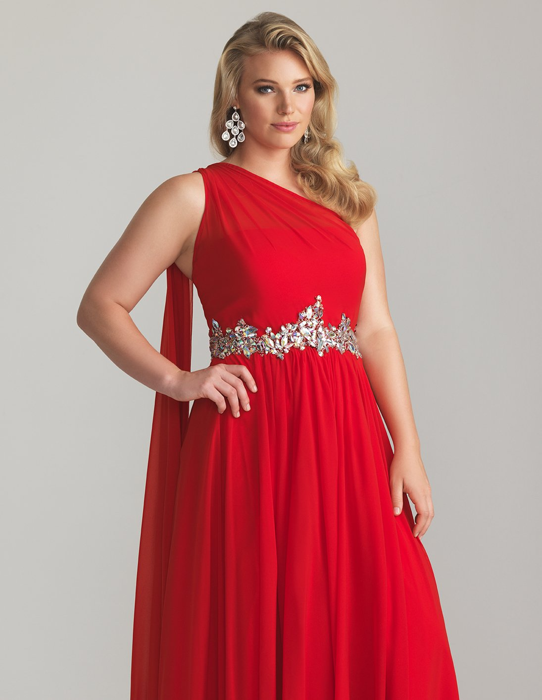 #2013-E29 x - Red Plus Size Evening Gowns, One Shoulder Dresses