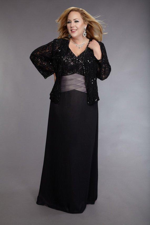 #2013-M71 x | Black Plus Size Mother of bride Dresses