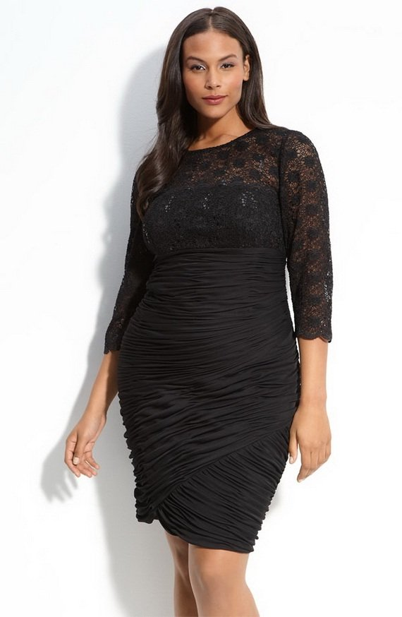 Darius Cordell Black Lace Cocktail Dresses for Plus Size Women