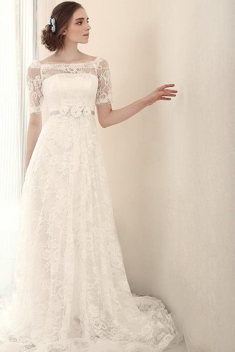 #BR824 Modest Wedding Dresses with Short Sleeves, 3/4 Sleeved Bridal Gown