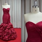 x - Red Fit-n-Flare Ball Gown, Evening Dresses w Ruffles