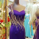 x - One Shoulder Evening Dresses, Purple Beaded Formal Gowns