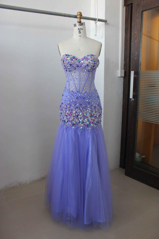DP #HK1348 - x - Blue Prom Dresses, Corset Bodice Evening Gowns