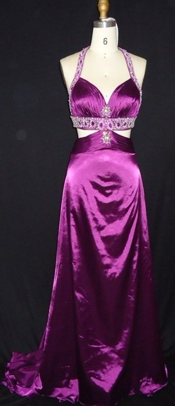 #MH1008 x - Halter Style Prom Dresses, Purple Evening Gowns