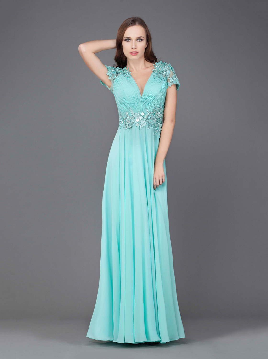 #J6470 - Short Cap Sleeve Special Occasion Mother of Bride Evening Dresses