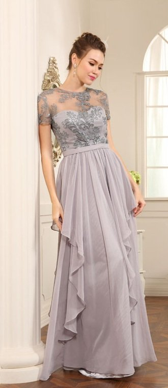 Platinum Mother of Bride Evening Dresses - Short Sleeve Formals
