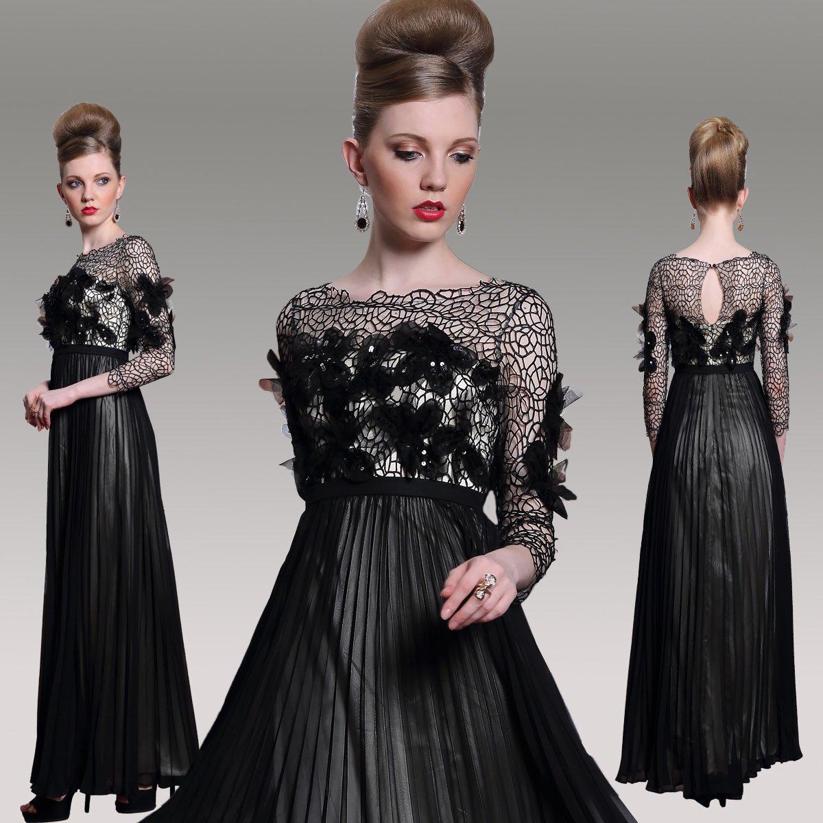 #F30989 Black Long Sleeve Empire Waist Evening Gown
