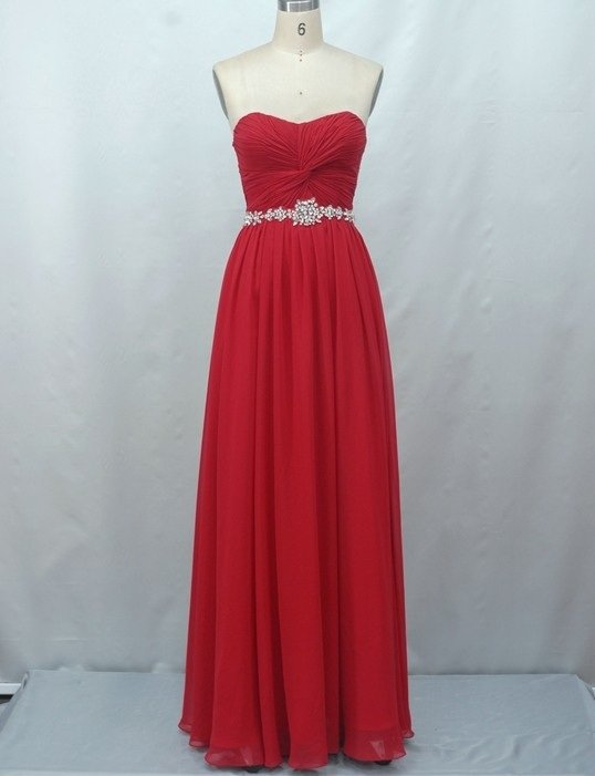 #Y6 - Strapless Red Ball Gown - Red Evening Dress