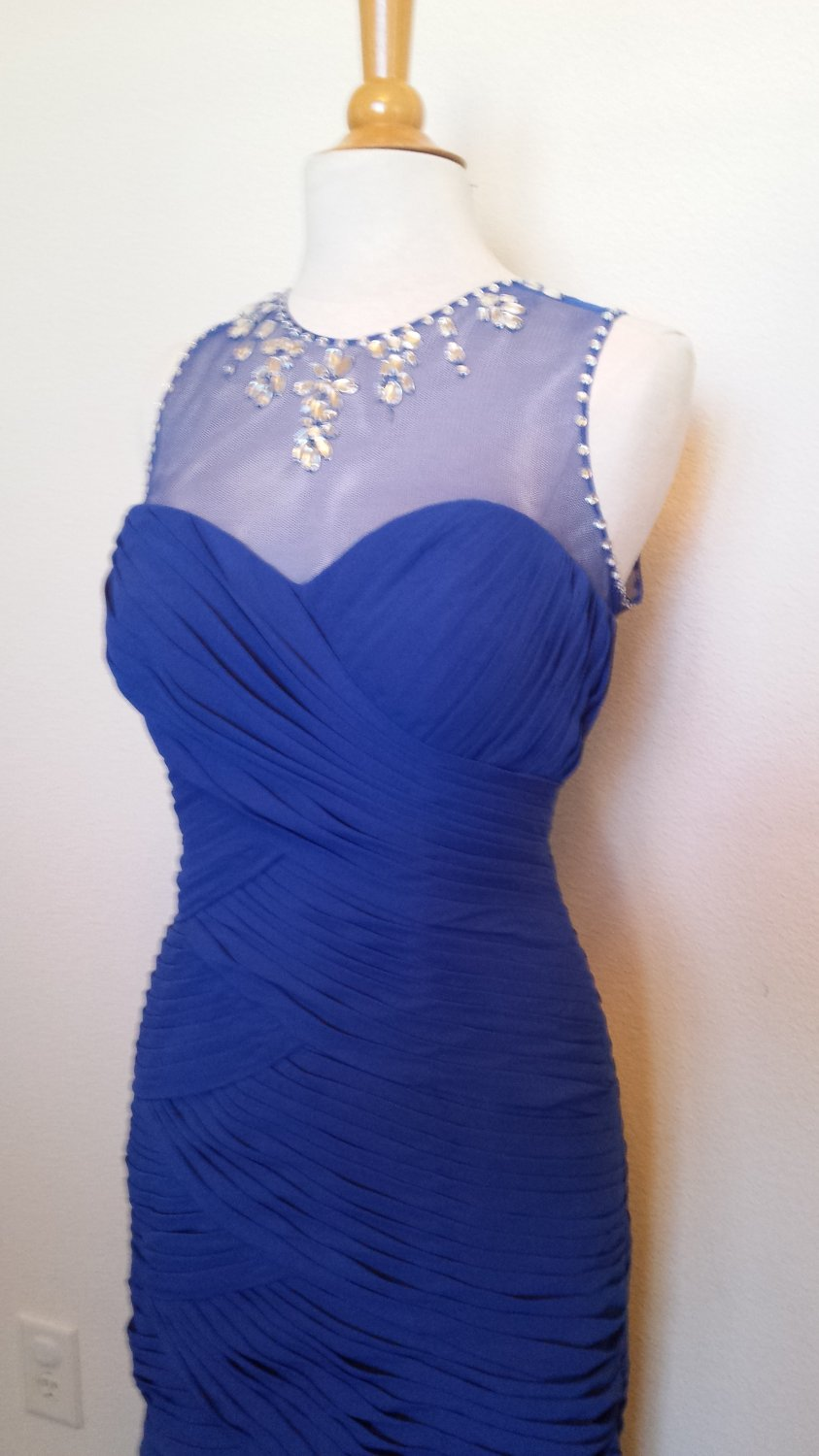 #415699 Ruched Blue Formal Dress with Illusion Neckline, Evening Gown