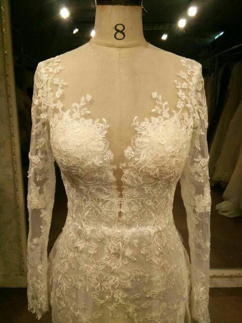 Darius Cordell - Long sleeve lace wedding gown with Illusion neckline