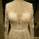 Darius Long sleeve lace wedding gown with Illusion neckline