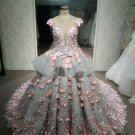 Darius Cordell Grey & Pink plus size wedding dress