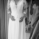 Style #4de0 - three quarter sleeve plus size wedding dresses -