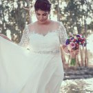 #72a5 - Short sleeve plus size wedding dresses with illusion neckline