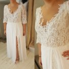 #78c1 - Elbow length sleeve plus size bridal dresses