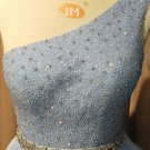 Sleeveless One Shoulder Blue Formal Evening Gown