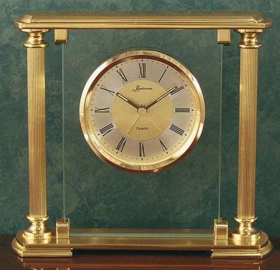 Solid brass and glass alarm tabletop clock OL-398