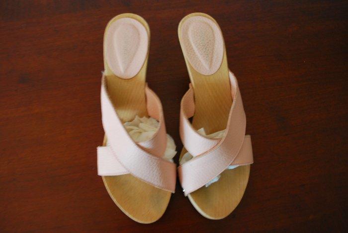 BURBERRY pink platform heels / sandals / shoes 37 7 authentic