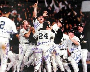 1996 Ny Yankees Team Signed 16x20 Photo - 12 Signatures