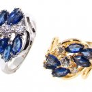 Sapphire Cluster Cz Rings