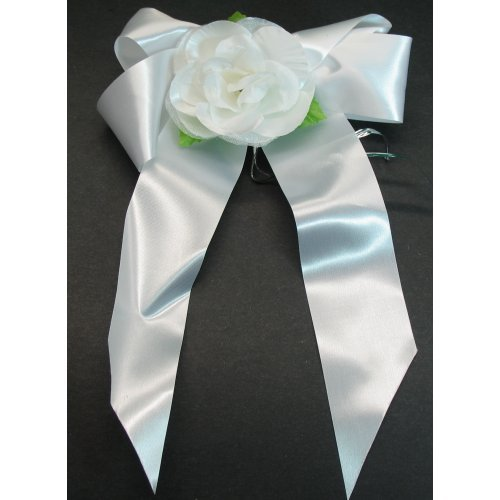 Satin Pew Bows With White Rose