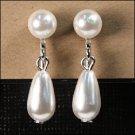 Pearl Ball & Teardrop Earrings - White