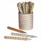Silver and gold beadwork set of 20 pens with holder