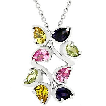 Leaf cluster multicolored necklace