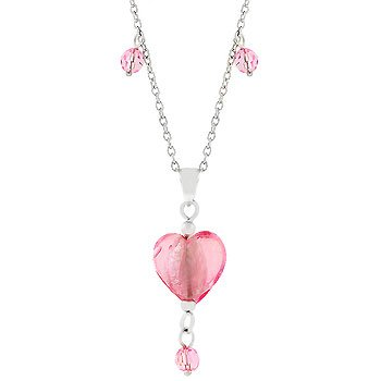 Pink Heart Drop Necklace
