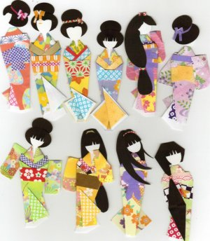 Kimono Paper Doll Book Fancy Ningyo Forms Washi Origami