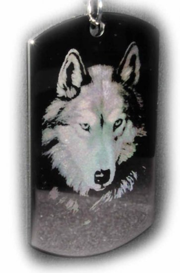 Lone Wolf Engraved Pendant With Custom Engraved Message