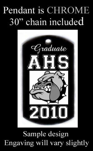 High School Graduation Custom Engraved Dog Tag Pendant