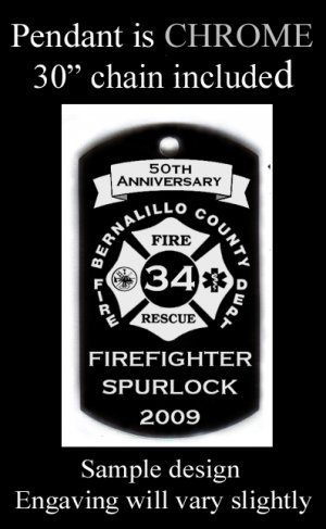 Firefighter Insignia Custom Engraved Dog Tag Pendant