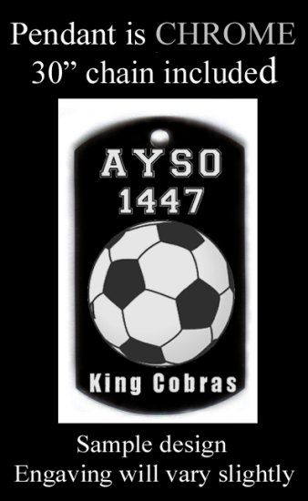 Custom Engraved Youth Soccer Pendant