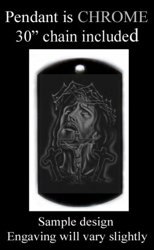 Jesus Looking Up Engraved Pendant With Custom Engraved Message