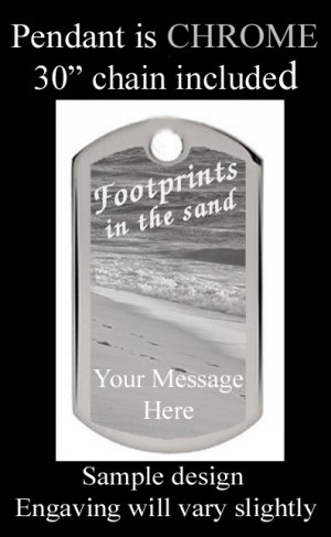 Footprints In The Sand Custom  Engraved Pendant With Poem