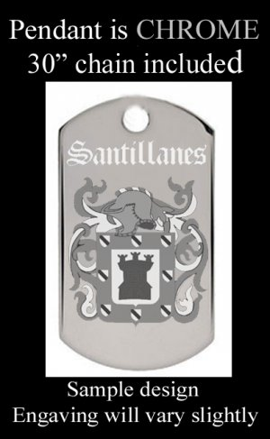 Custom Engraved Coat of Arms Dog Tag Pendant With jpg Image