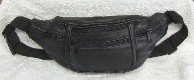 Genuine Lambskin Leather Fanny Pack - #3077- BLACK